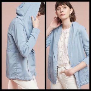 Anthro Postmark Slate Blue Anorak Hoodie Jacket